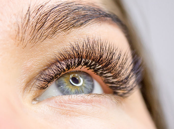 Photo of a woman's eye with 3-D Volume Lashes applied