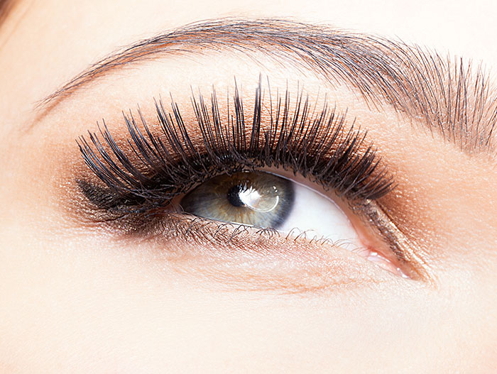 Image of a female's eye with 3-D eyelash extensions