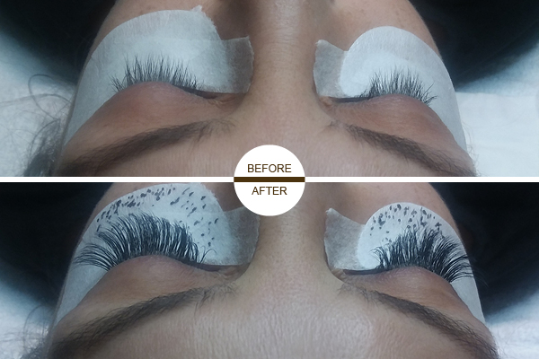 Eyelash extension before and after photo 5 showing a woman with lash extensions