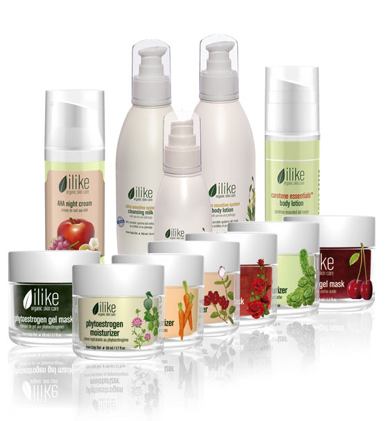 Image of ilike organic skin care 12 item product line.