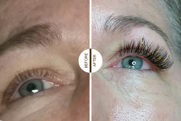Eyelash extensions before and after example